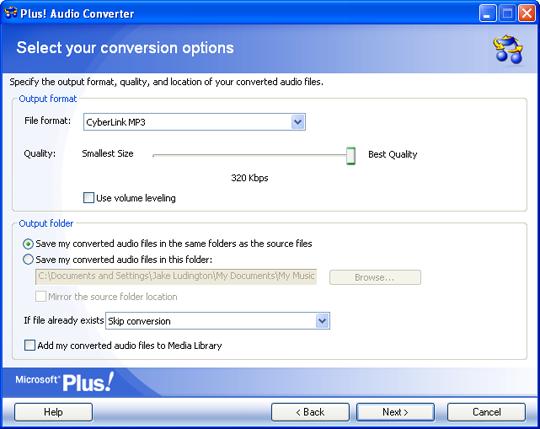 Audio Converter Options