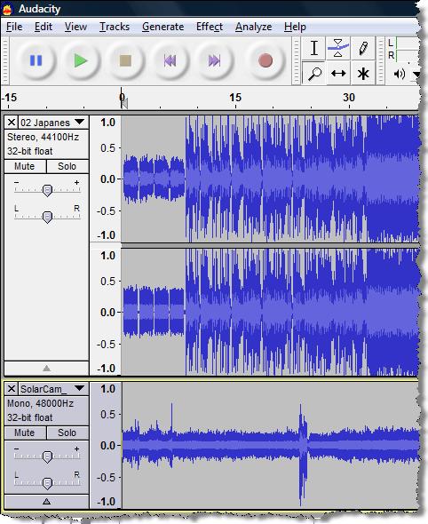 Combine two audio tracks in Audacity