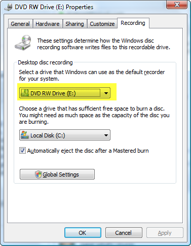 Change Default DVD Burner