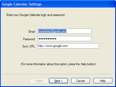 Google Calendar Sync Settings