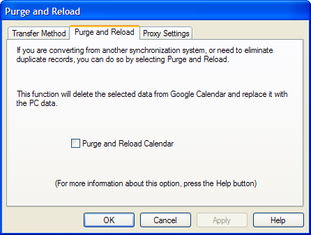 Purge Google Calendar Sync Settings