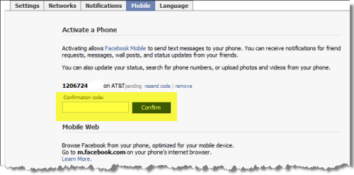 Facebook Mobile Activation Code