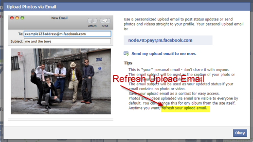 Refresh your Facebook upload email