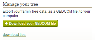 Download GEDCOM file from Ancestry.com to your computer