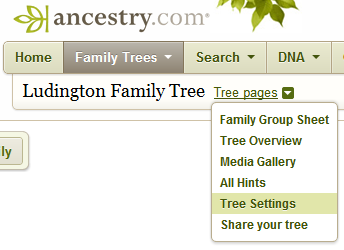 Ancestry.com Tree Settings