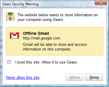 Gmail security warning