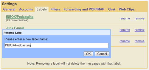 Renaming Labels in Gmail
