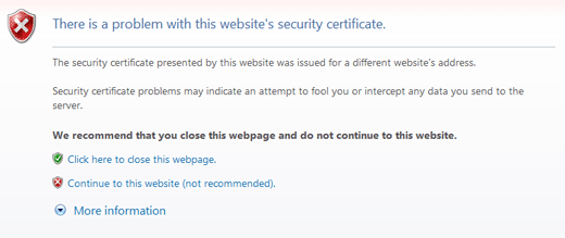 There is a problem with this website's security certificate error