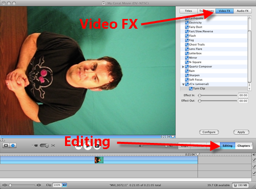 How to rotate a video in imovie jake ludingtons digital lifestyle configure turn clip roatate fx in imovie ccuart Image collections