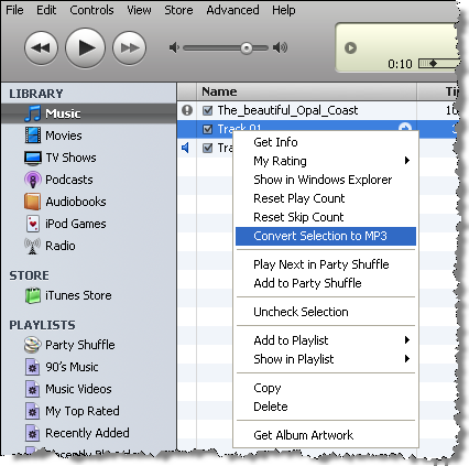 how to get itunes music files on a mp3