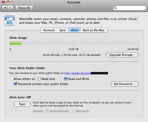 Configure iDisk Public Settings