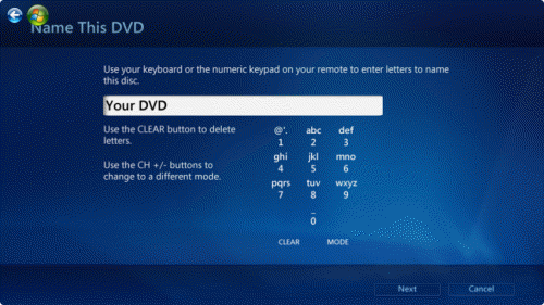 burn windows media center name dvd