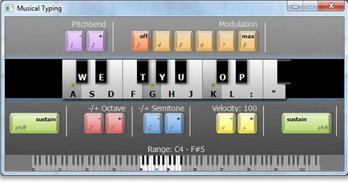 GarageBand for Windows - Mixcraft Musical Typing Keyboard