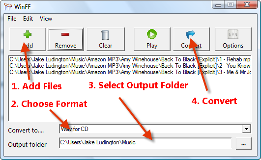 convert MP3 to WAV with WinFF