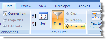 Delete duplicate rows in Excel with Advanced Filter