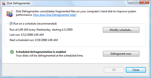 Windows Vista Disk Defragmenter Screen