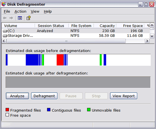 Windows XP Disk Defragmenter Screen