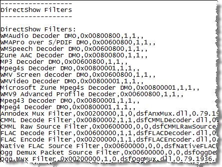DxDiag DirectShow Codec Listing