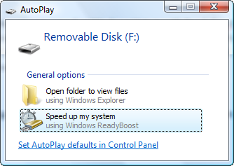 Vista AutoPlay ReadyBoost option