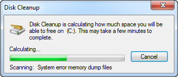 Windows Disk Cleanup Calculating