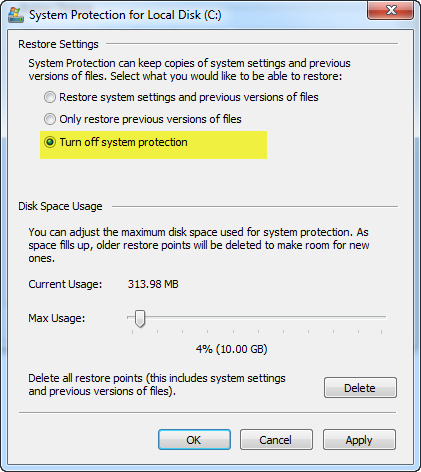 disable System Restore in Windows 7