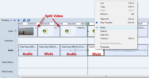 Mute segments of my Movie Maker project