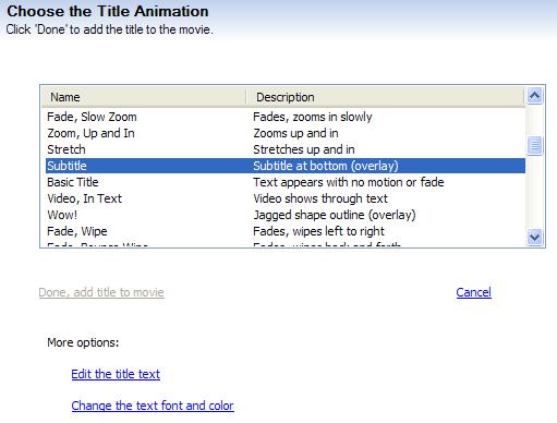 Subtitle feature in Windows XP Movie Maker