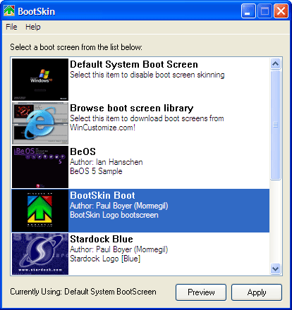 bootskin screen